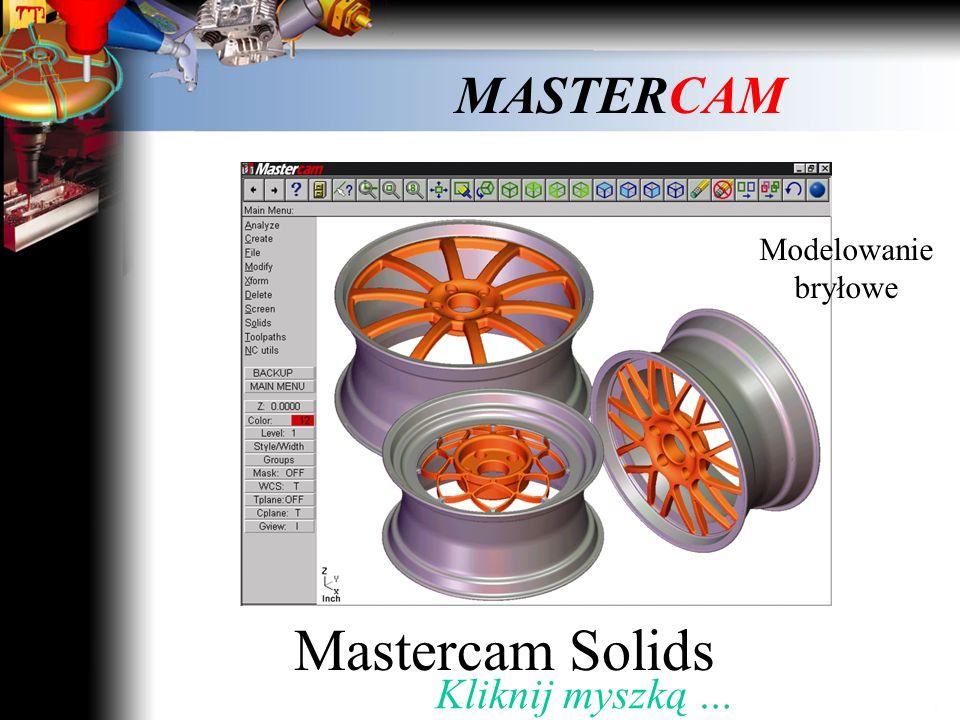 MASTERCAM Mastercam Design Modelowanie powierzchniowe Kliknij Myszką …