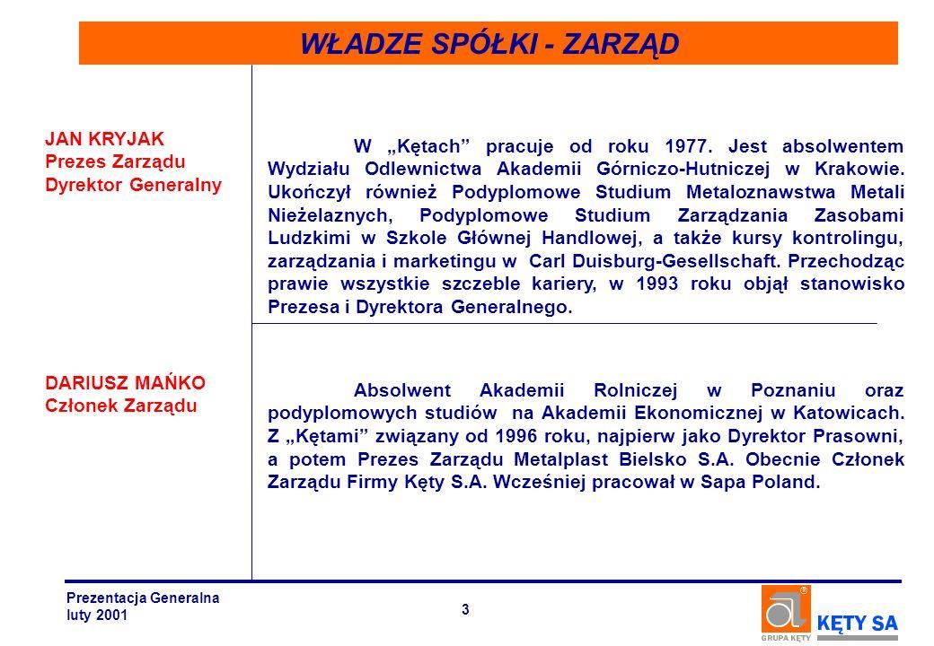 SEGMENT SYSTEMÓW ALUMINIOWYCH PRODUKTY KONSTRUKCJE ALUMINIOWE SYSTEMY STOLARKI ALUMINIOWEJ SUFITY PODWIESZANE è OKNA è DRZWI è FASADY è OKŁADZINY ELEWACYJNE è PROFILE SYSTEM M B SYSTEM SPECTRAL Prezentacja Generalna luty 2001 34