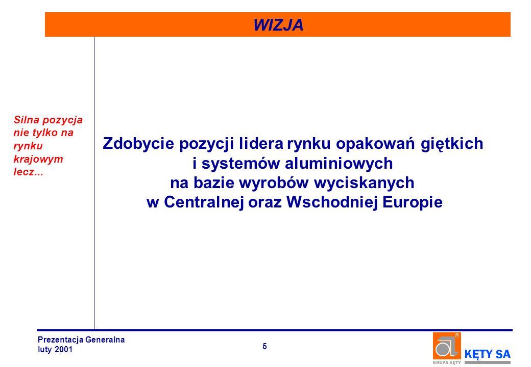 SEGMENT WYROBÓW WYCISKANYCH Prezentacja Generalna luty 2001 26