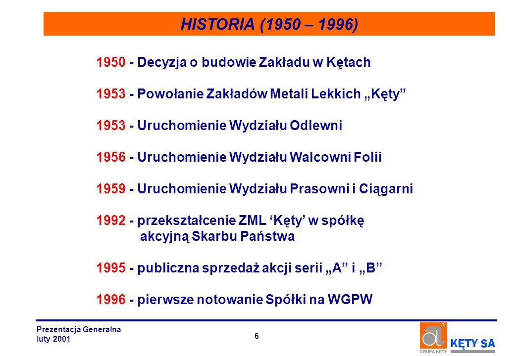 HISTORIA (1950 – 1996) 1950 - Decyzja o budowie Zakładu w Kętach 1953 - Powołanie Zakładów Metali Lekkich Kęty 1953 - Uruchomienie Wydziału Odlewni 19