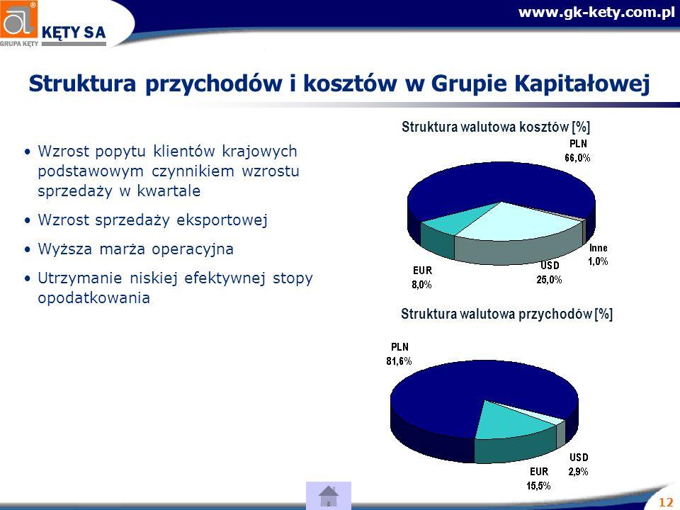 www.gk-kety.com.pl 12 Struktura przychodów i kosztów w Grupie Kapitałowej Wzrost popytu klientów krajowych podstawowym czynnikiem wzrostu sprzedaży w kwartale Wzrost sprzedaży eksportowej Wyższa marża operacyjna Utrzymanie niskiej efektywnej stopy opodatkowania Struktura walutowa przychodów [%] Struktura walutowa kosztów [%]