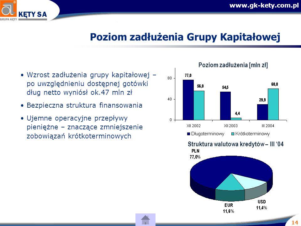 www.gk-kety.com.pl 14 Poziom zadłużenia Grupy Kapitałowej Struktura walutowa kredytów – III 04 Poziom zadłużenia [mln zł] Wzrost zadłużenia grupy kapitałowej – po uwzględnieniu dostępnej gotówki dług netto wyniósł ok.47 mln zł Bezpieczna struktura finansowania Ujemne operacyjne przepływy pieniężne – znaczące zmniejszenie zobowiązań krótkoterminowych