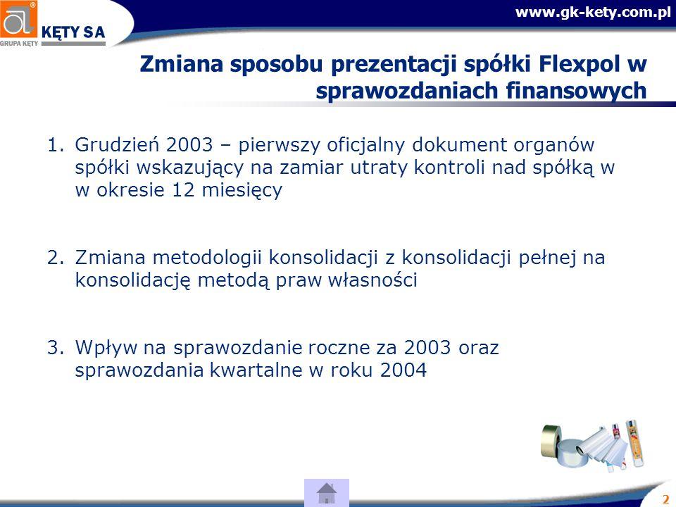 www.gk-kety.com.pl 2 Zmiana sposobu prezentacji spółki Flexpol w sprawozdaniach finansowych 1.Grudzień 2003 – pierwszy oficjalny dokument organów spółki wskazujący na zamiar utraty kontroli nad spółką w w okresie 12 miesięcy 2.Zmiana metodologii konsolidacji z konsolidacji pełnej na konsolidację metodą praw własności 3.Wpływ na sprawozdanie roczne za 2003 oraz sprawozdania kwartalne w roku 2004