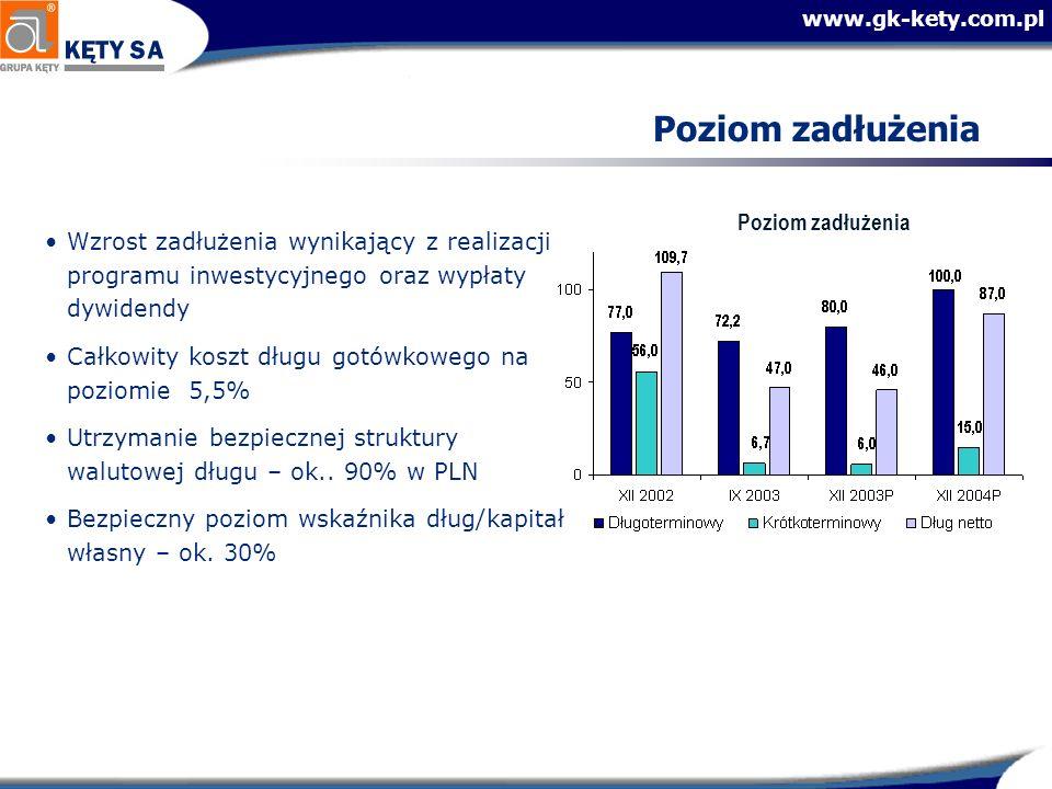 www.gk-kety.com.pl Poziom zadłużenia Wzrost zadłużenia wynikający z realizacji programu inwestycyjnego oraz wypłaty dywidendy Całkowity koszt długu gotówkowego na poziomie 5,5% Utrzymanie bezpiecznej struktury walutowej długu – ok..