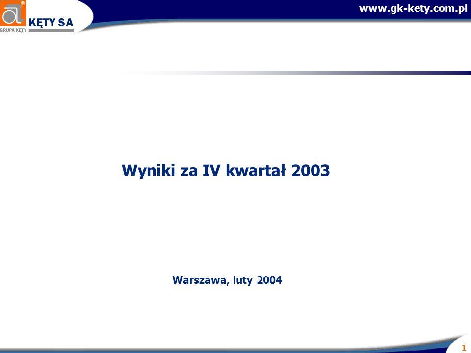 www.gk-kety.com.pl 1 Wyniki za IV kwartał 2003 Warszawa, luty 2004