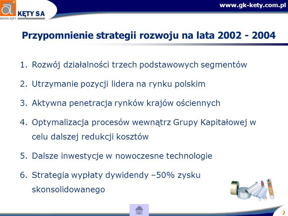 www.gk-kety.com.pl 2 Przypomnienie strategii rozwoju na lata 2002 - 2004 1.Rozwój działalności trzech podstawowych segmentów 2.Utrzymanie pozycji lidera na rynku polskim 3.Aktywna penetracja rynków krajów ościennych 4.Optymalizacja procesów wewnątrz Grupy Kapitałowej w celu dalszej redukcji kosztów 5.Dalsze inwestycje w nowoczesne technologie 6.Strategia wypłaty dywidendy –50% zysku skonsolidowanego
