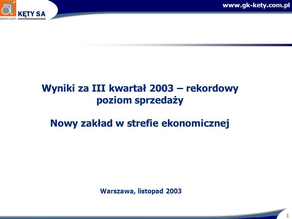 www.gk-kety.com.pl 1 Wyniki za III kwartał 2003 – rekordowy poziom sprzedaży Nowy zakład w strefie ekonomicznej Warszawa, listopad 2003