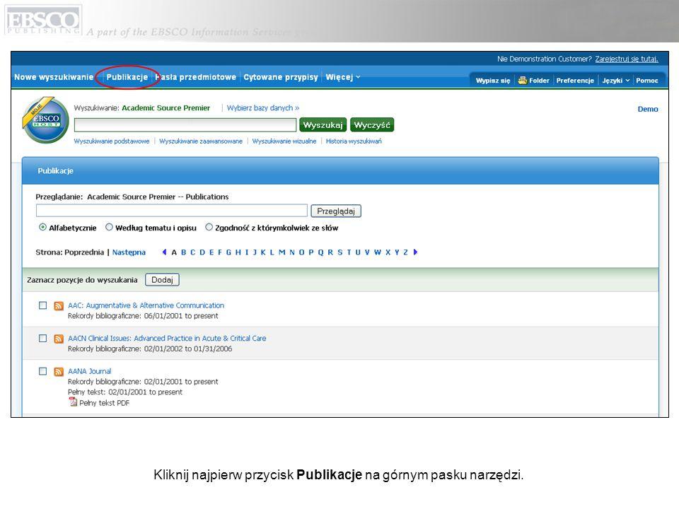 Wprowadź tytuł publikacji w polu Przeglądaj publikacje, kliknij Przeglądaj, a następnie kliknij wyświetlony link do strony Szczegóły publikacji.