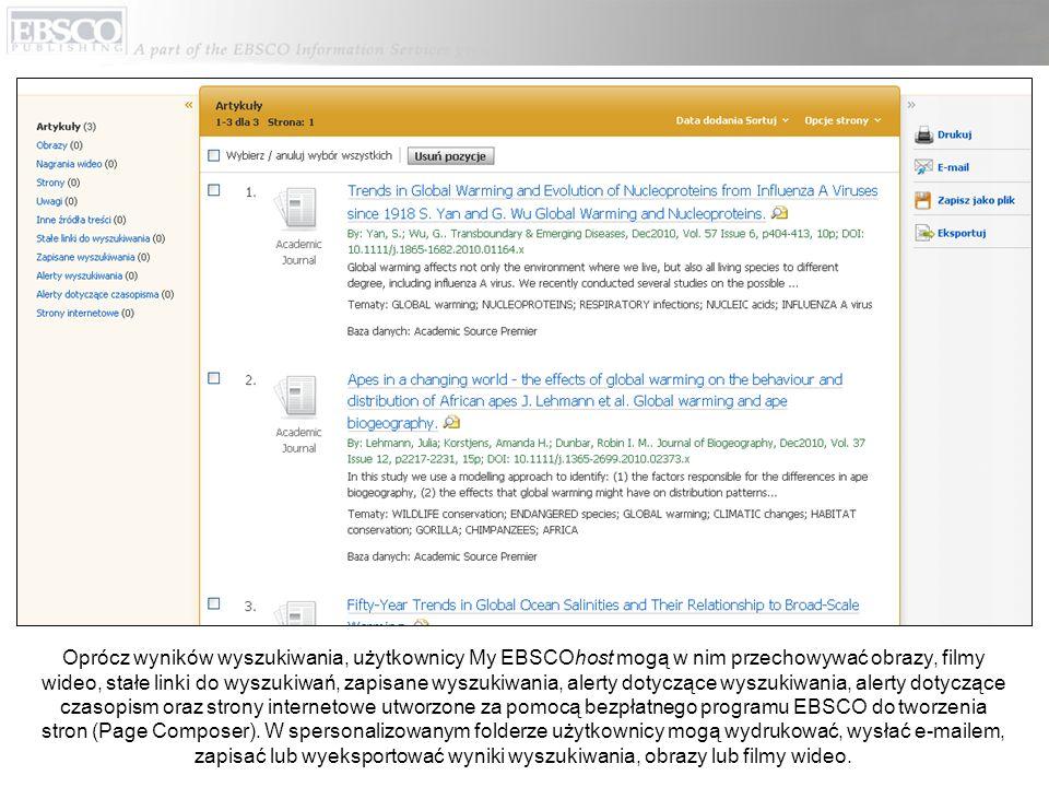 Oprócz wyników wyszukiwania, użytkownicy My EBSCOhost mogą w nim przechowywać obrazy, filmy wideo, stałe linki do wyszukiwań, zapisane wyszukiwania, a