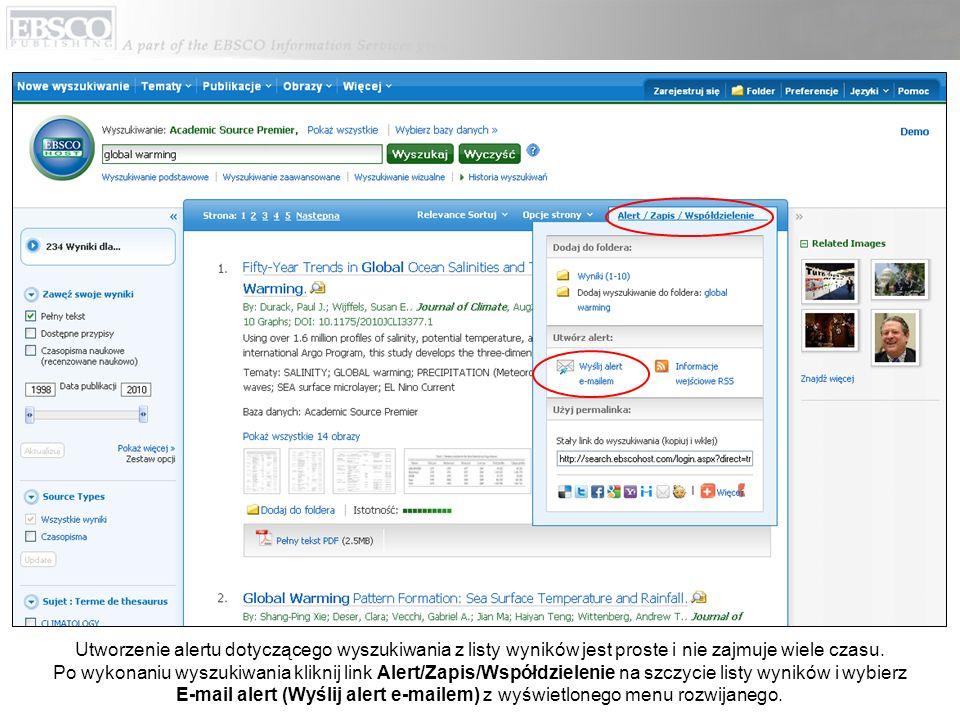 Okno tworzenia alertu pojawi się na ekranie wyświetlonym na liście wyników.