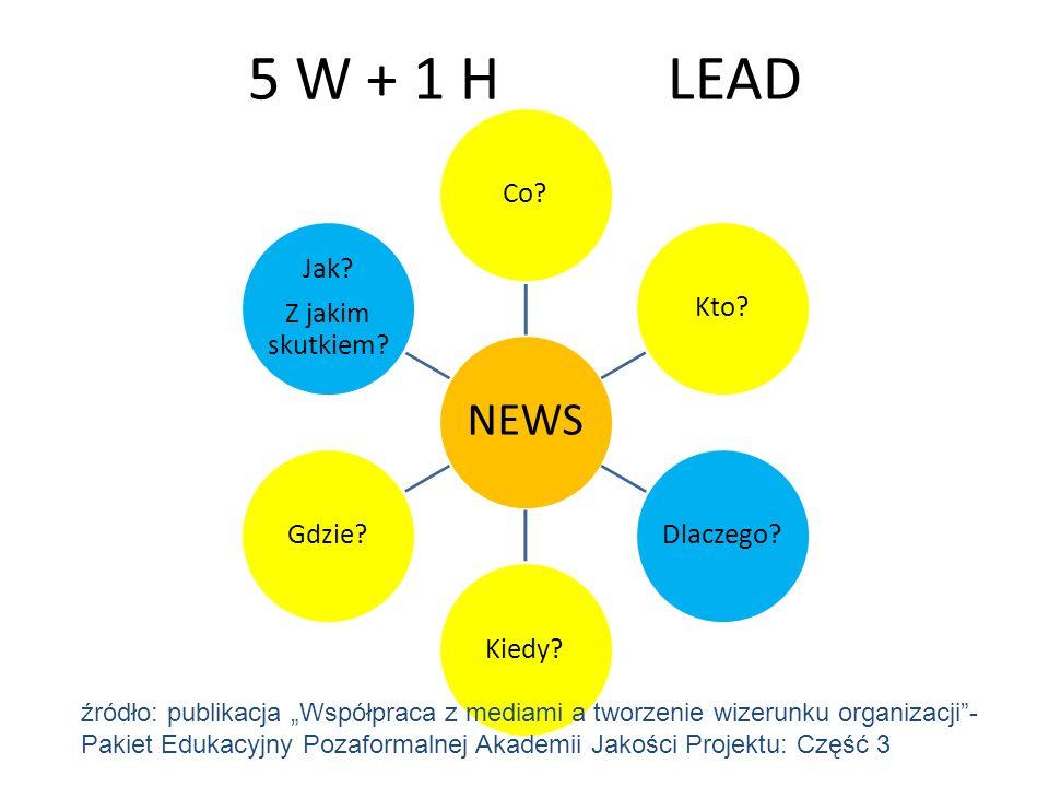 5 W + 1 HLEAD NEWS Co?Kto?Dlaczego?Kiedy?Gdzie? Jak? Z jakim skutkiem? źródło: publikacja Współpraca z mediami a tworzenie wizerunku organizacji- Paki