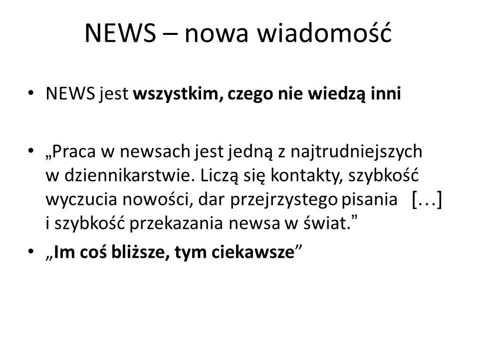 NEWS – nowa wiadomość NEWS jest wszystkim, czego nie wiedzą inni Praca w newsach jest jedną z najtrudniejszych w dziennikarstwie. Liczą się kontakty,