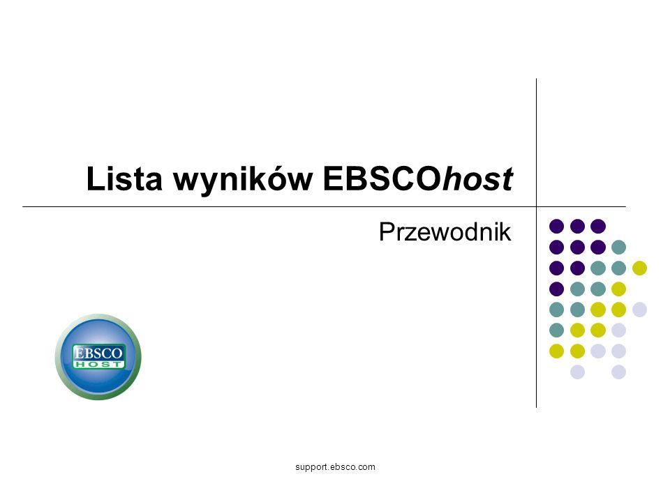 support.ebsco.com Lista wyników EBSCOhost Przewodnik