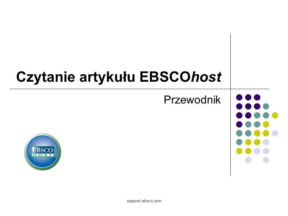 support.ebsco.com Przewodnik Czytanie artykułu EBSCOhost
