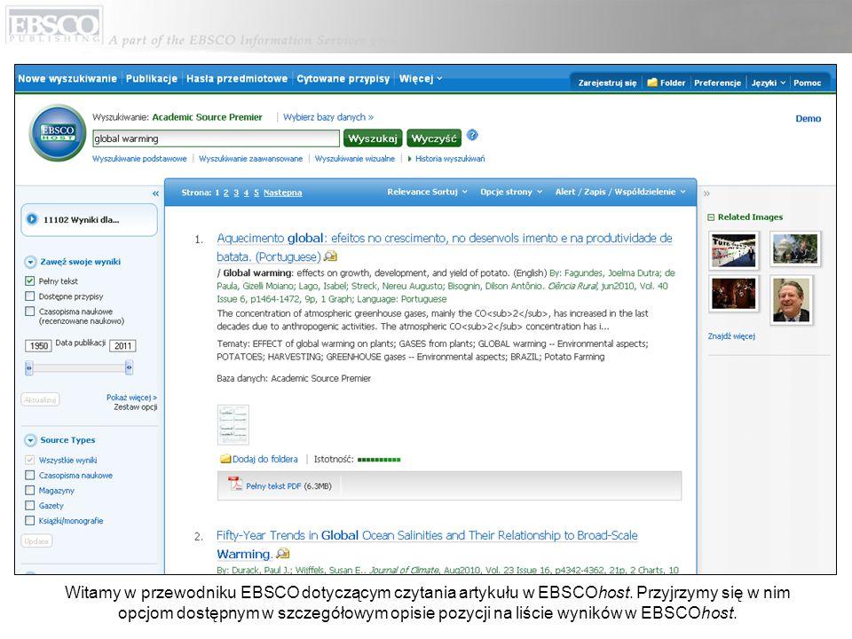 Witamy w przewodniku EBSCO dotyczącym czytania artykułu w EBSCOhost.
