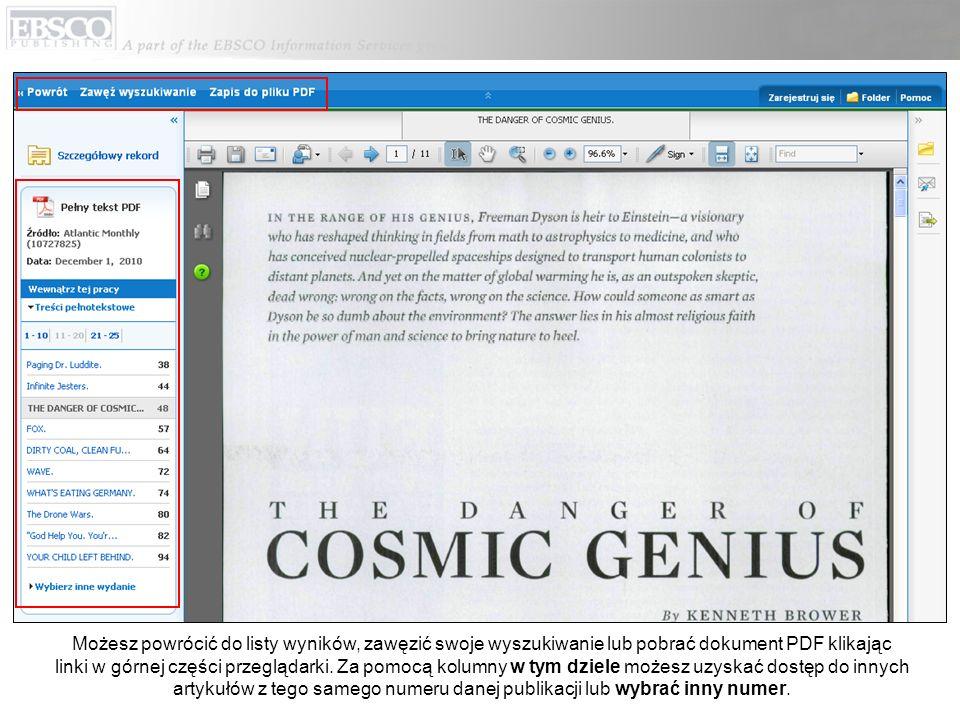 Możesz powrócić do listy wyników, zawęzić swoje wyszukiwanie lub pobrać dokument PDF klikając linki w górnej części przeglądarki.