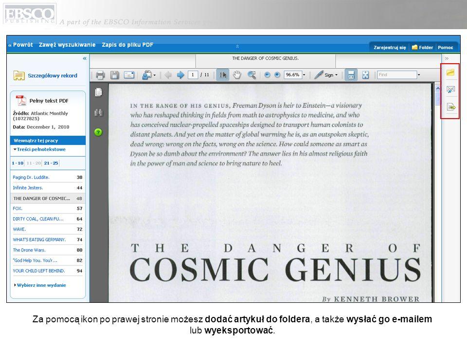 Za pomocą ikon po prawej stronie możesz dodać artykuł do foldera, a także wysłać go e-mailem lub wyeksportować.