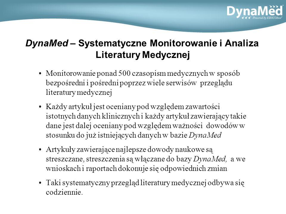DynaMed – Systematyczne Monitorowanie i Analiza Literatury Medycznej Monitorowanie ponad 500 czasopism medycznych w sposób bezpośredni i pośredni poprzez wiele serwisów przeglądu literatury medycznej Każdy artykuł jest oceniany pod względem zawartości istotnych danych klinicznych i każdy artykuł zawierający takie dane jest dalej oceniany pod względem ważności dowodów w stosunku do już istniejących danych w bazie DynaMed Artykuły zawierające najlepsze dowody naukowe są streszczane, streszczenia są włączane do bazy DynaMed, a we wnioskach i raportach dokonuje się odpowiednich zmian Taki systematyczny przegląd literatury medycznej odbywa się codziennie.