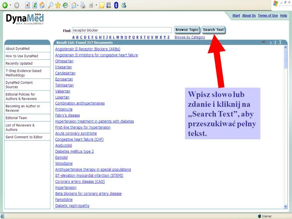 Wpisz słowo lub zdanie i kliknij na Search Text, aby przeszukiwać pełny tekst.