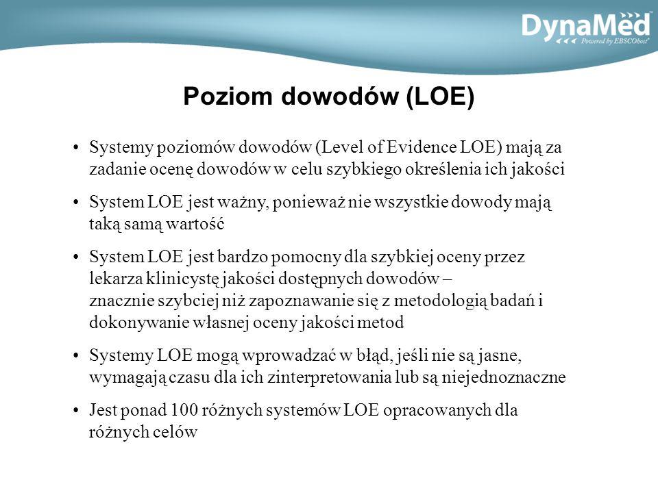 Poziom dowodów (LOE) DynaMed zapewnia łatwe do zinterpretowania oznakowanie poziomu dowodów tak, aby użytkownik mógł szybko znaleźć najlepsze dostępne dowody i ustalić ich jakość Nie wszystkie źródła z zakresu medycyny opartej na dowodach stosują łatwe w użyciu systemy oznaczania dowodów; niektóre w ogóle nie stosują systemu LOE DynaMed używa 3 poziomów dowodów (Levels of Evidence) : –Poziom 1 – najbardziej wiarygodne dowody –Poziom 2 – średni poziom dowodów –Poziom 3 – brak bezpośrednich dowodów Klasyfikacja dowodów oparta jest na systematyce stopni rekomendacji (Stregth of Recomendation Taxonomy SORT) - American Family Physician 1.02.2004,vol.69 nr.3