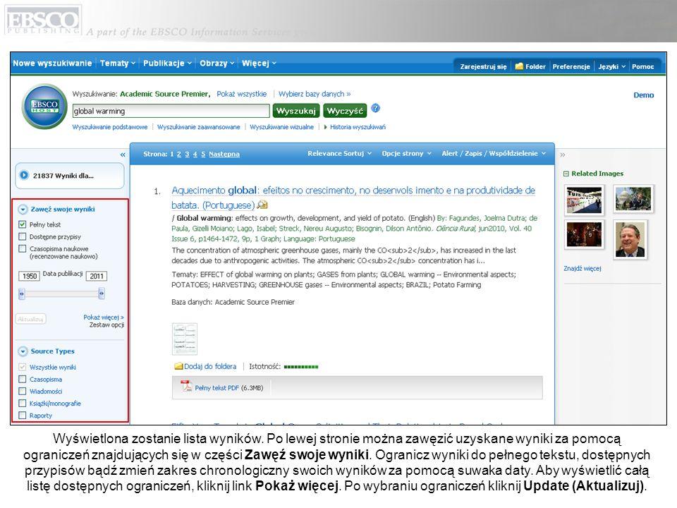 W każdej chwili możesz kliknąć link Pomoc, aby wyświetlić pełny system pomocy online.