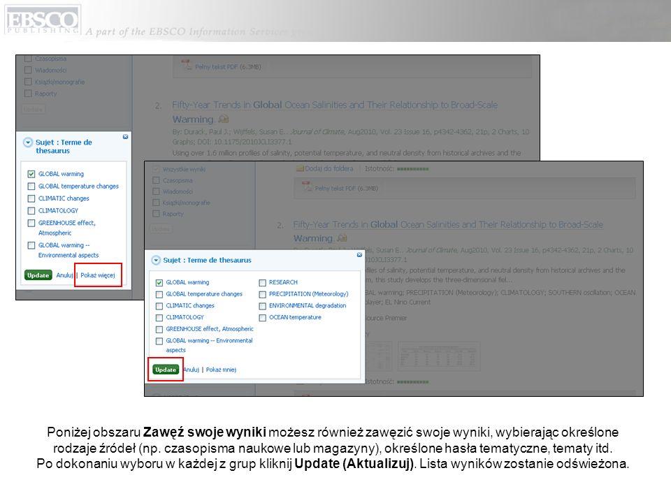 Gdy zawężasz wyniki wyszukiwania za pomocą ograniczeń, rodzajów źródeł i grup, każda pozycja z listy dodawana jest do panelu (Bread Box) znajdującego się na szczycie kolumny po lewej stronie.