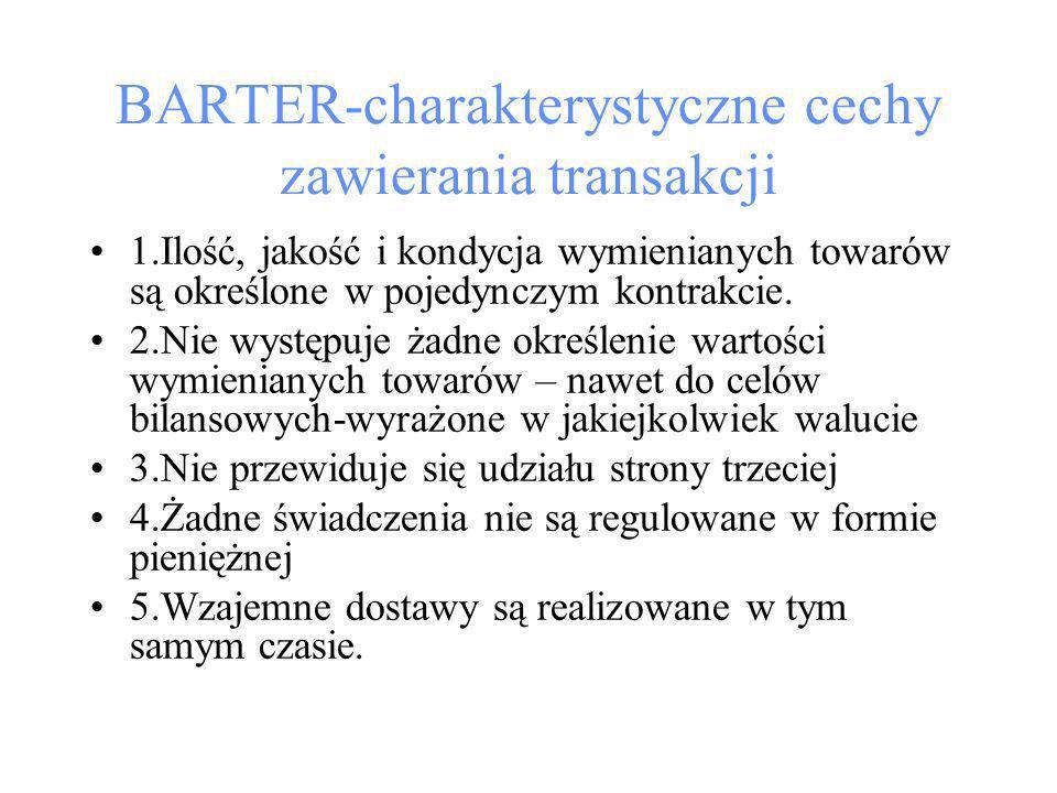 BARTER-charakterystyczne cechy zawierania transakcji 1.Ilość, jakość i kondycja wymienianych towarów są określone w pojedynczym kontrakcie.