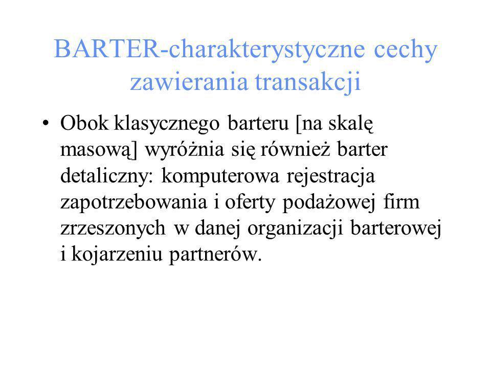 BARTER-charakterystyczne cechy zawierania transakcji Obok klasycznego barteru [na skalę masową] wyróżnia się również barter detaliczny: komputerowa rejestracja zapotrzebowania i oferty podażowej firm zrzeszonych w danej organizacji barterowej i kojarzeniu partnerów.