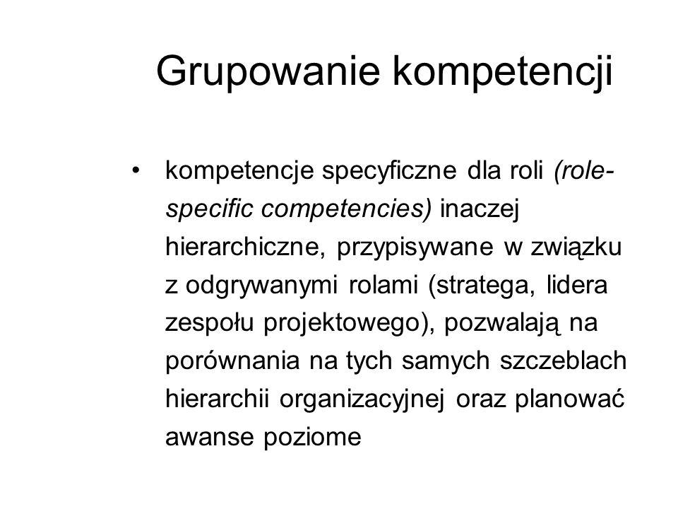 kompetencje specyficzne dla roli (role- specific competencies) inaczej hierarchiczne, przypisywane w związku z odgrywanymi rolami (stratega, lidera ze