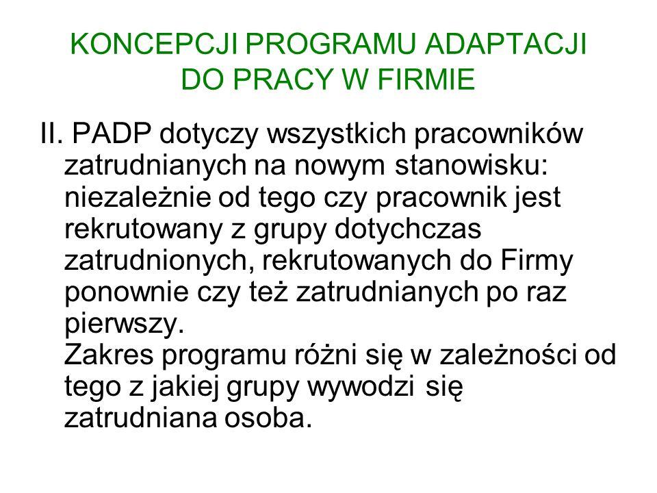 KONCEPCJI PROGRAMU ADAPTACJI DO PRACY W FIRMIE II. PADP dotyczy wszystkich pracowników zatrudnianych na nowym stanowisku: niezależnie od tego czy prac