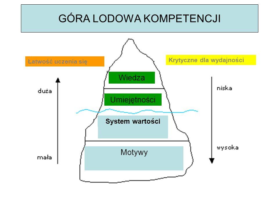 GÓRA LODOWA KOMPETENCJI System wartości Motywy Umiejętności Wiedza Krytyczne dla wydajności Łatwość uczenia się