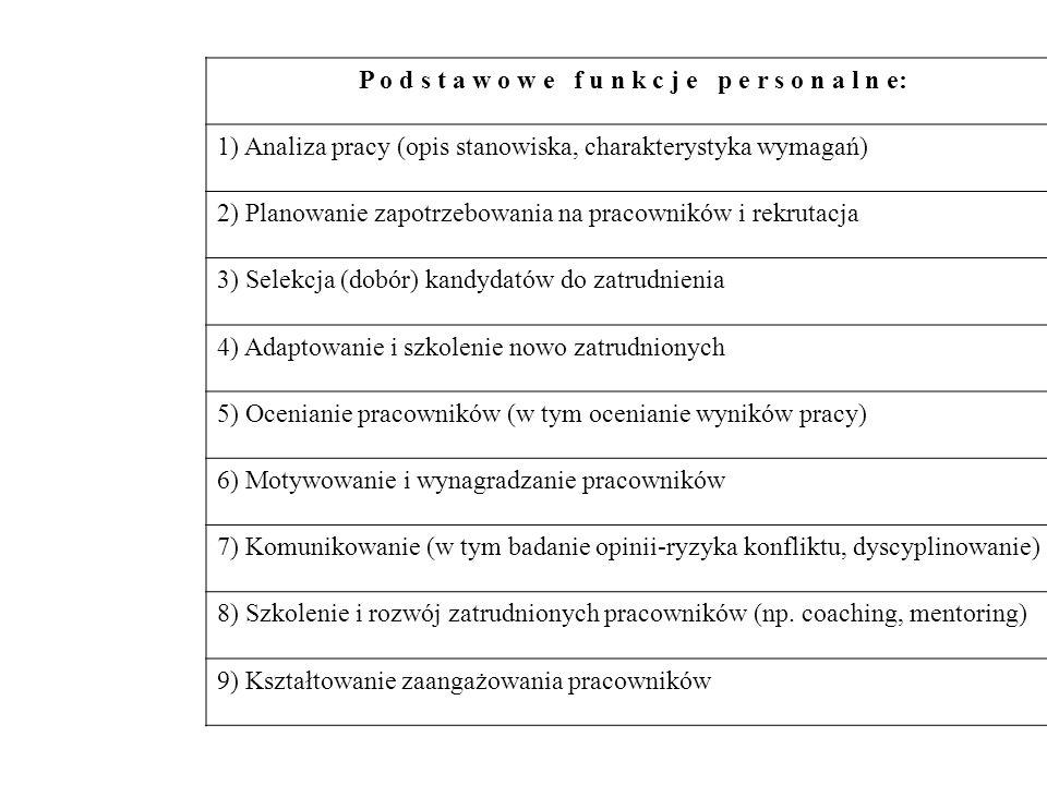 P o d s t a w o w e f u n k c j e p e r s o n a l n e: 1) Analiza pracy (opis stanowiska, charakterystyka wymagań) 2) Planowanie zapotrzebowania na pr