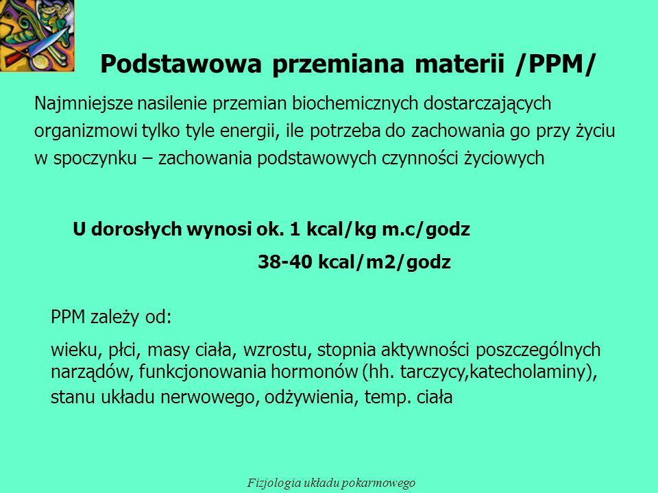 Podstawowa przemiana materii /PPM/ Najmniejsze nasilenie przemian biochemicznych dostarczających organizmowi tylko tyle energii, ile potrzeba do zacho