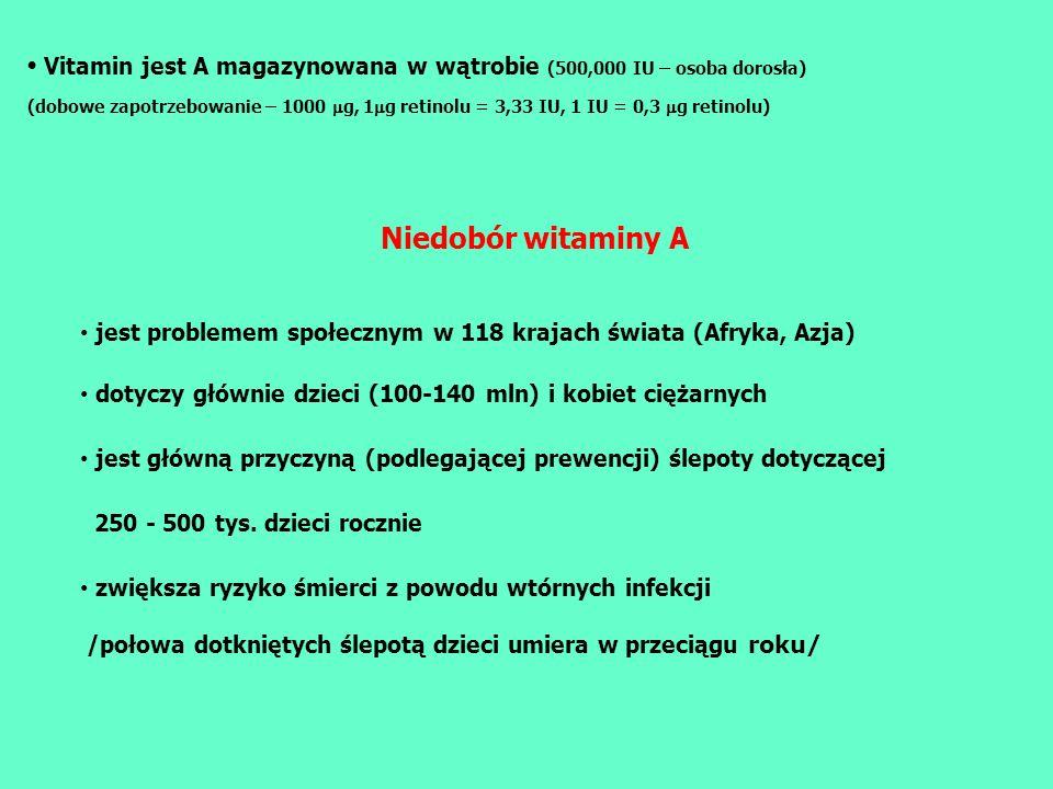 Vitamin jest A magazynowana w wątrobie (500,000 IU – osoba dorosła) (dobowe zapotrzebowanie – 1000 g, 1 g retinolu = 3,33 IU, 1 IU = 0,3 g retinolu) N