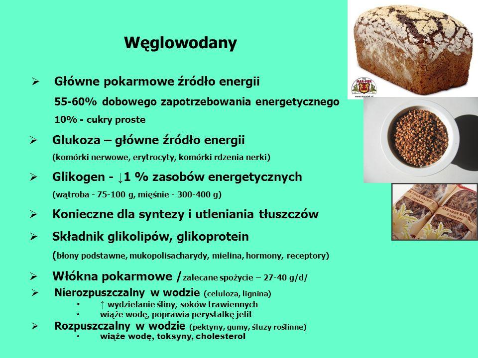 Węglowodany Główne pokarmowe źródło energii 55-60% dobowego zapotrzebowania energetycznego 10% - cukry proste Glukoza – główne źródło energii (komórki
