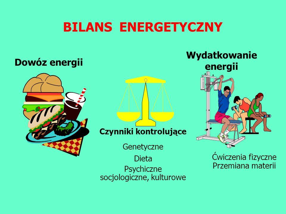 Dowóz energii Czynniki kontrolujące Genetyczne Dieta Psychiczne socjologiczne, kulturowe Wydatkowanie energii Ćwiczenia fizyczne Przemiana materii BIL