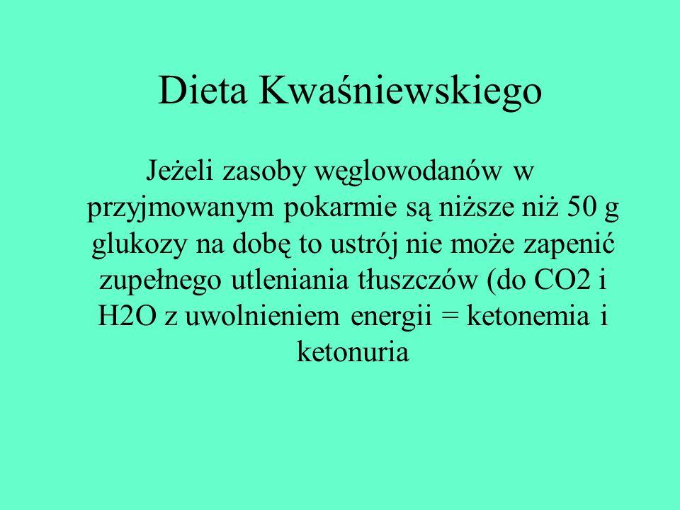 Dieta Kwaśniewskiego Jeżeli zasoby węglowodanów w przyjmowanym pokarmie są niższe niż 50 g glukozy na dobę to ustrój nie może zapenić zupełnego utleni