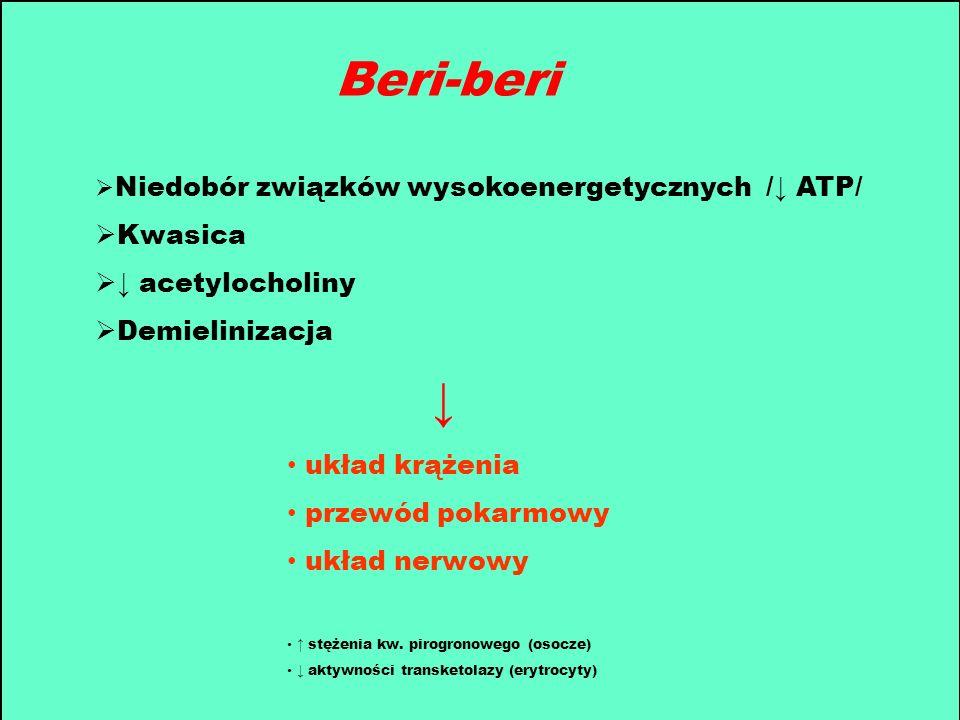 Beri-beri Niedobór związków wysokoenergetycznych / ATP/ Kwasica acetylocholiny Demielinizacja układ krążenia przewód pokarmowy układ nerwowy stężenia