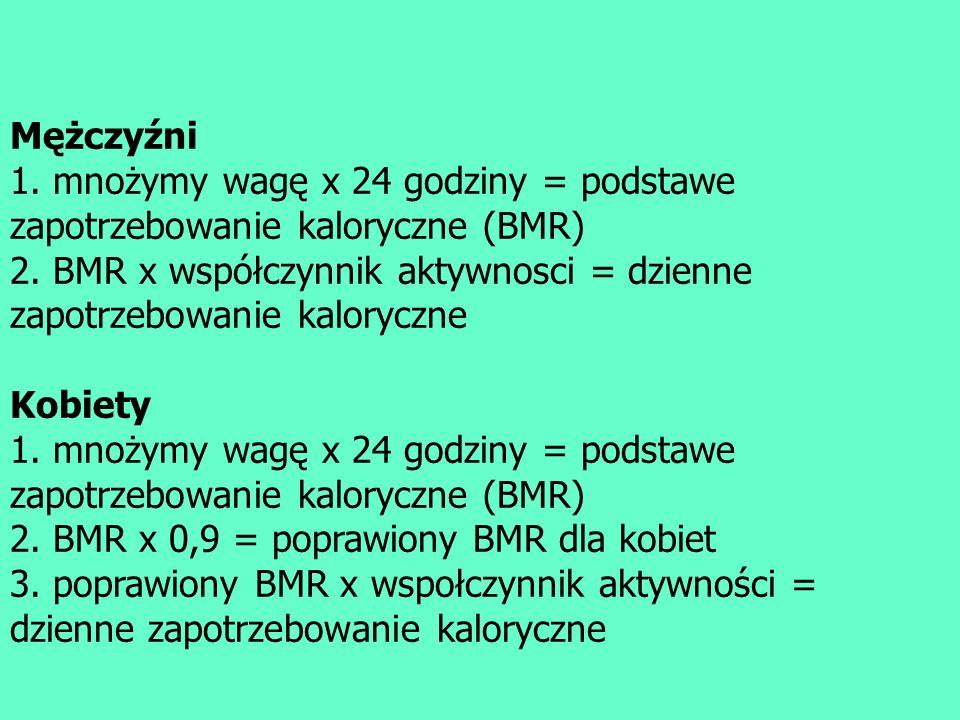 Mężczyźni 1. mnożymy wagę x 24 godziny = podstawe zapotrzebowanie kaloryczne (BMR) 2. BMR x współczynnik aktywnosci = dzienne zapotrzebowanie kalorycz
