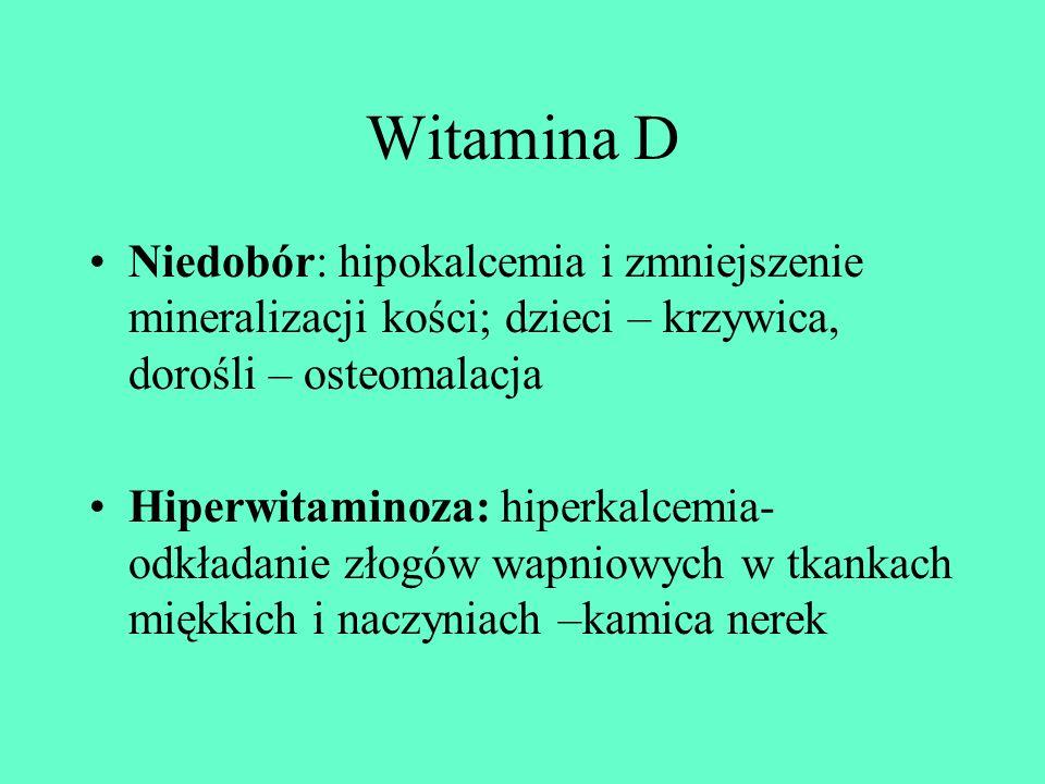 Witamina D Niedobór: hipokalcemia i zmniejszenie mineralizacji kości; dzieci – krzywica, dorośli – osteomalacja Hiperwitaminoza: hiperkalcemia- odkład
