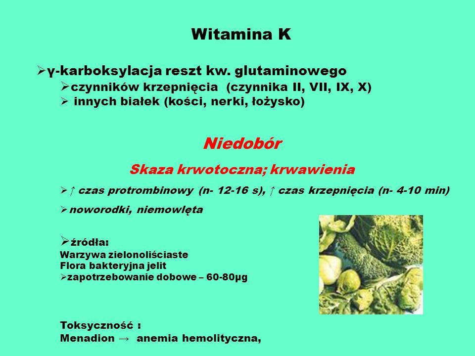 Witamina K γ-karboksylacja reszt kw. glutaminowego czynników krzepnięcia (czynnika II, VII, IX, X) innych białek (kości, nerki, łożysko) Niedobór Skaz