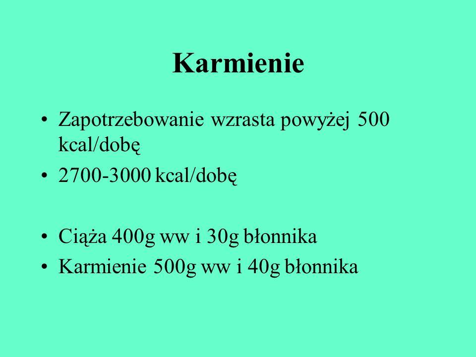Karmienie Zapotrzebowanie wzrasta powyżej 500 kcal/dobę 2700-3000 kcal/dobę Ciąża 400g ww i 30g błonnika Karmienie 500g ww i 40g błonnika