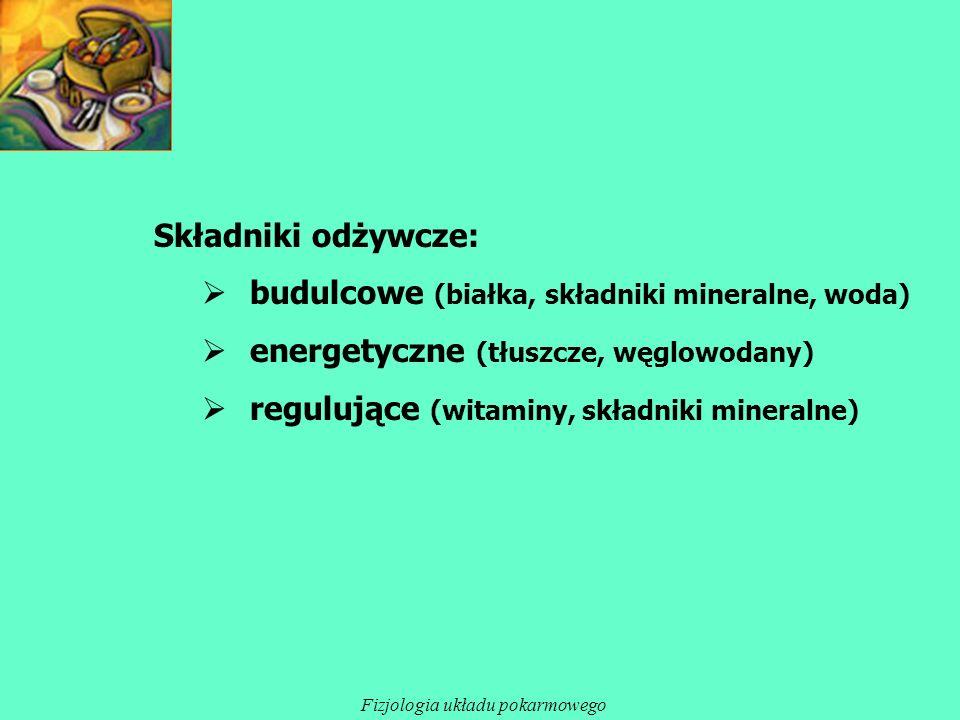Składniki odżywcze: budulcowe (białka, składniki mineralne, woda) energetyczne (tłuszcze, węglowodany) regulujące (witaminy, składniki mineralne) Fizj