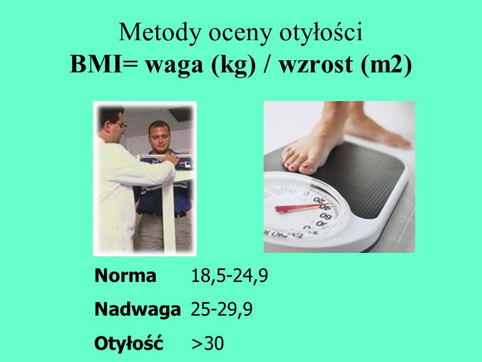 Metody oceny otyłości BMI= waga (kg) / wzrost (m2) Norma 18,5-24,9 Nadwaga25-29,9 Otyłość>30