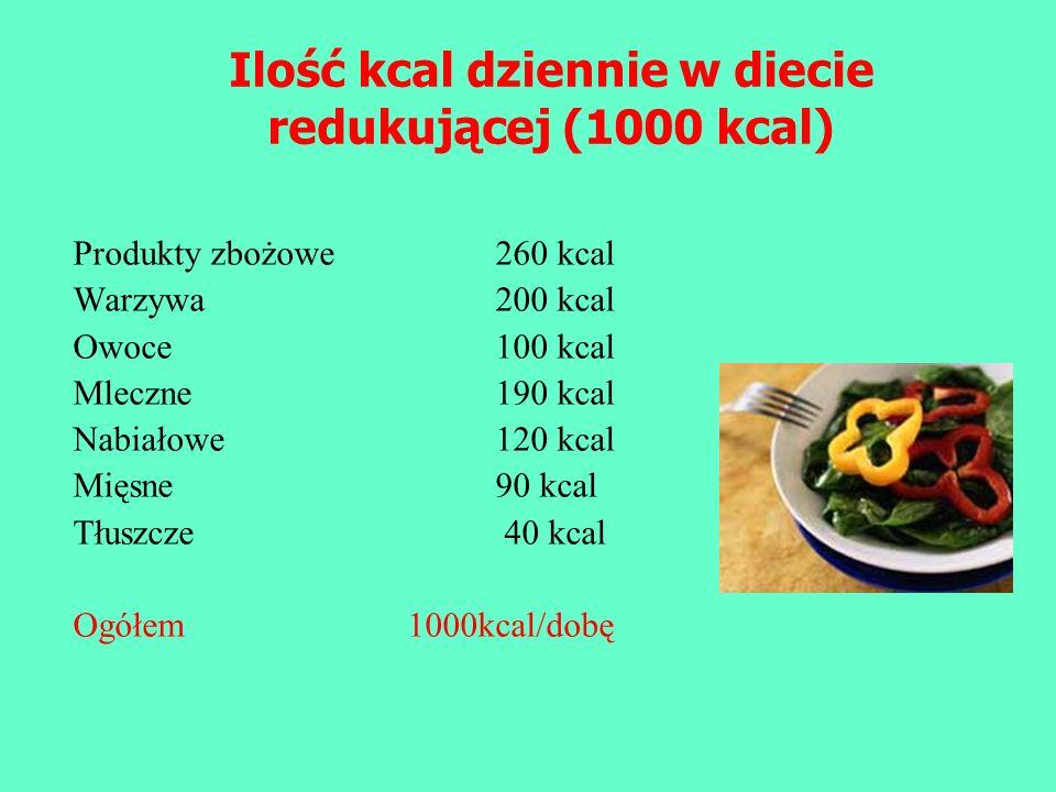 Produkty zbożowe260 kcal Warzywa200 kcal Owoce 100 kcal Mleczne190 kcal Nabiałowe120 kcal Mięsne 90 kcal Tłuszcze 40 kcal Ogółem 1000kcal/dobę Ilość k