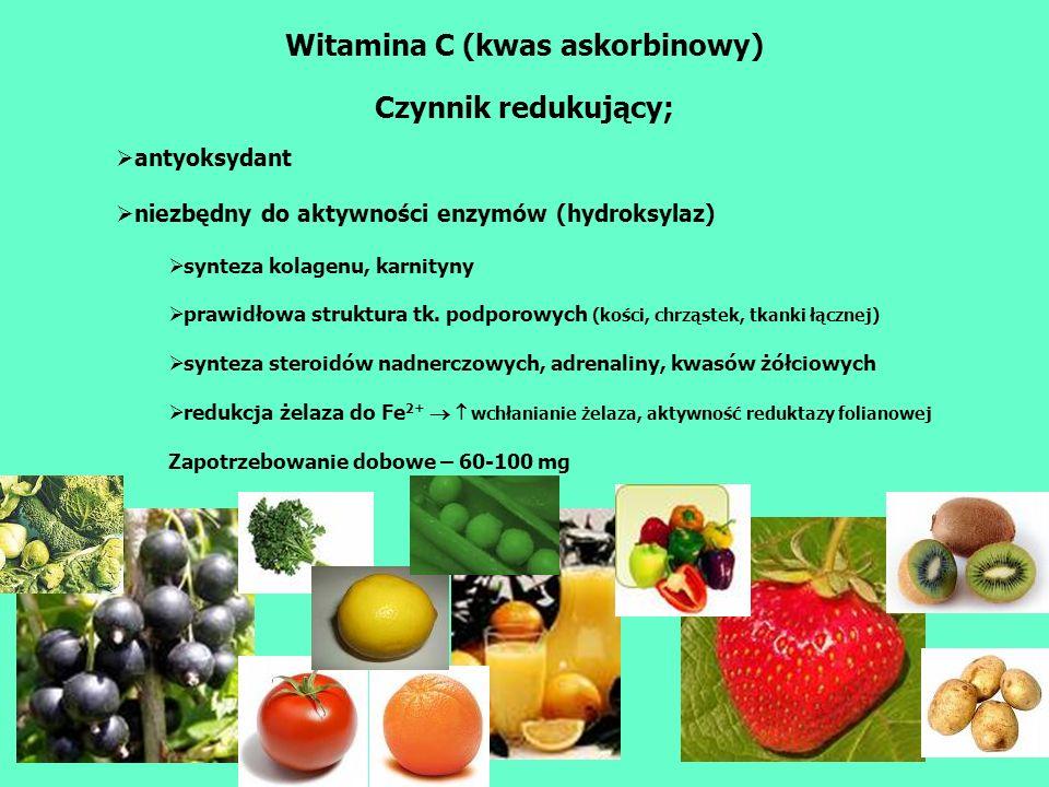 Witamina C (kwas askorbinowy) Niedobór – szkorbut Osłabienie, bóle reumatyczne Kruchość naczyń krwionośnych wybroczynki, hiperkeratoza, siniaki wynaczynienia krwi (skóra, mięśnie, dziąsła, stawy, kości) - rózaniec szkorbutowy - zahamowanie wzrostu Upośledzone wytwarzanie kolagenu, osteoidu, dentyny