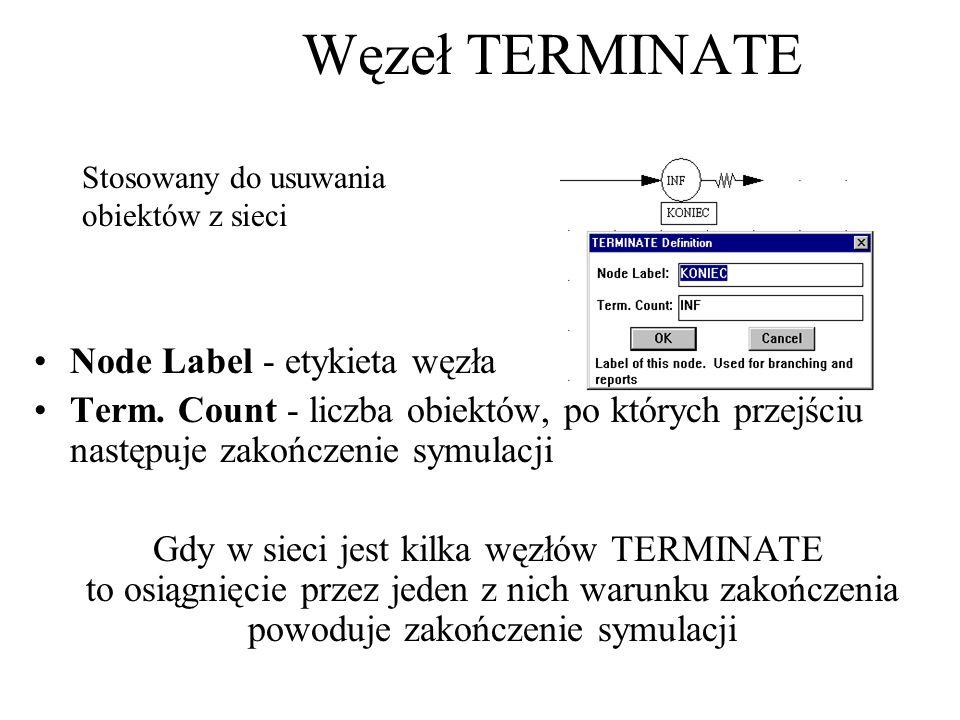 Node Label - etykieta węzła Term. Count - liczba obiektów, po których przejściu następuje zakończenie symulacji Gdy w sieci jest kilka węzłów TERMINAT