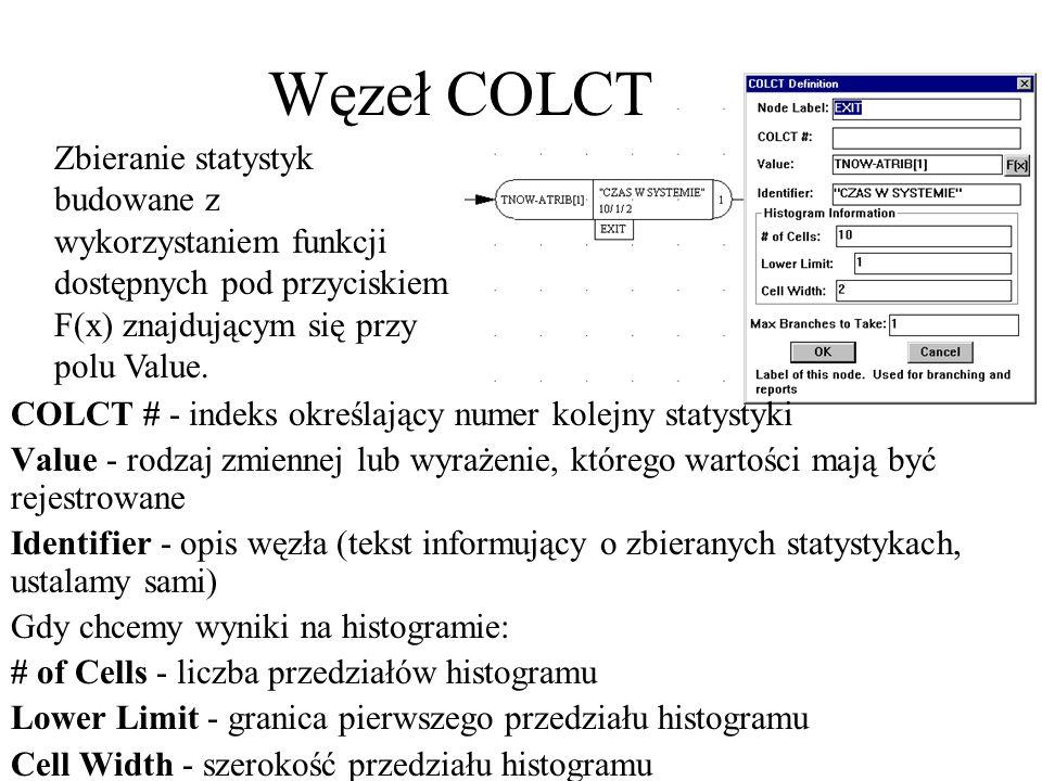 COLCT # - indeks określający numer kolejny statystyki Value - rodzaj zmiennej lub wyrażenie, którego wartości mają być rejestrowane Identifier - opis