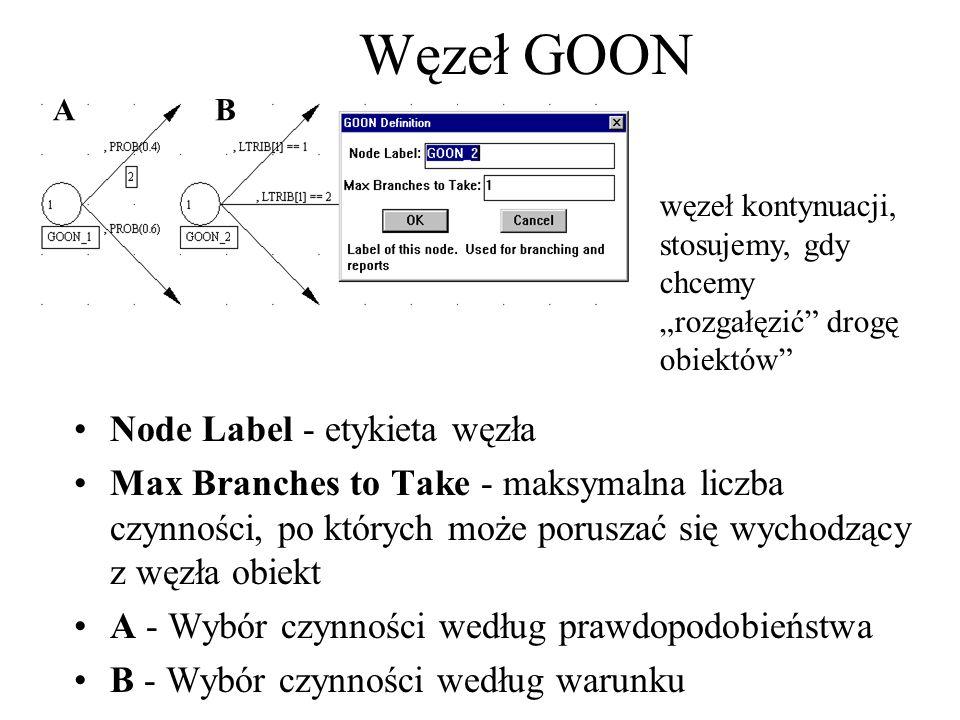 Node Label - etykieta węzła Max Branches to Take - maksymalna liczba czynności, po których może poruszać się wychodzący z węzła obiekt A - Wybór czynn