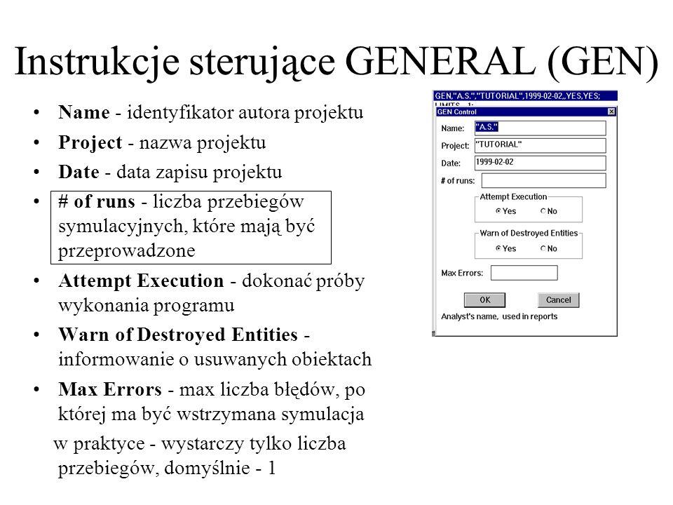 Name - identyfikator autora projektu Project - nazwa projektu Date - data zapisu projektu # of runs - liczba przebiegów symulacyjnych, które mają być